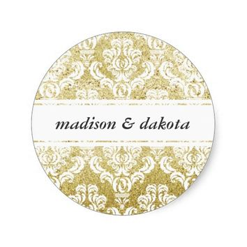 Damask Gold Glitter Personalized Wedding Stickers