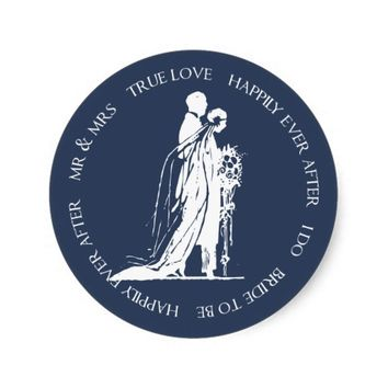 Bride and Groom Navy Happily Ever After Sticker