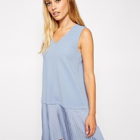 ASOS | ASOS Textured Pleated Skirt Shift Dress with Plunge at ASOS