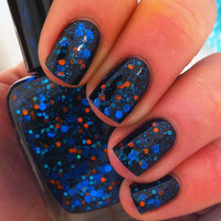 "Items similar to Nail polish - ""When planets collide"" bright blue glitter in a black jelly base on Etsy, a global handmade and vintage marketplace."