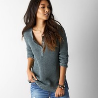 AEO Women's Henley Sweater (Mint Marl)