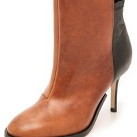 Two Tone Leather Booties