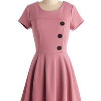 ModCloth Vintage Inspired Short Cap Sleeves A-line Either Or Dress in Pink