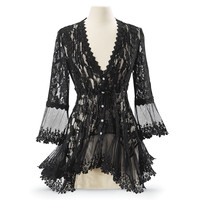 Black Lace Peplum Jacket - Women's Clothing & Symbolic Jewelry – Sexy, Fantasy, Romantic Fashions