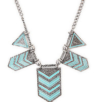 With Love From CA Chevron Enamel Statement Necklace - Womens Jewelry -