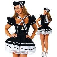Euro-American Costumes Sexy Deep Blue Lace Lycra With Cap Neckline And Thong School Girl Costume [TML0839] - $35.00
