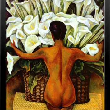 Nude with Calla Lilies Framed Art Print by Diego Rivera at Art.com