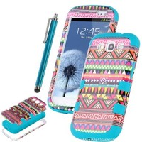 Pandamimi ULAK(TM) 3in1 Hybrid High Impact Pink Hard Aztec Tribal Pattern + Blue Silicone Case Cover For Samsung Galaxy S3 i9300 4G Android Phone (fit GT-I9300/SGH-I747/SPH-L710/SGH-T999/SCH-I535)+ Screen Protector +Blue Stylus:Amazon:Cell Phones & Accesso