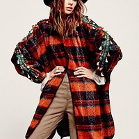 Love by Diego  Binetti Womens Slouchy Plaid Tassel Jacket - Earth,