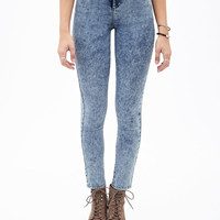 High-Rise - Mineral Wash Skinny Jeans