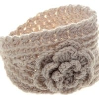 Imixlot Women's Beige Warm Winter Wool Knitted Flower Headband Christmas Gift