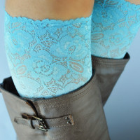 Ombre Aquamarine Lace boot cuff accessories
