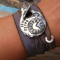 Steampunk Jewelry, Steampunk Clock Bracelet, Inspirational Quote Jewelry, Pocket Watch Clock Parts Bracelet, Time Flies Silk Wrap Bracelet