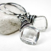 Rock Crystal Quartz Earrings Sterling Silver April Birthstone Gemstone