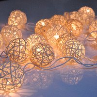 35 Bulbs White  - Rattan ball string lights for Home Decoration,Wedding,Party,Bedroom,Patio and Decoration