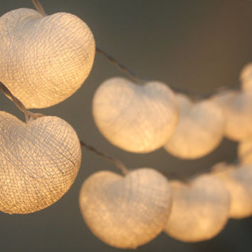 20 LED White Hearts Cotton Ball String Lights for Home Decoration,Wedding,Party,Bedroom,Patio and Decoration