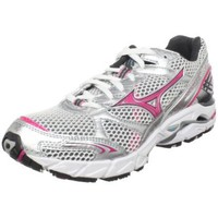 Mizuno Women`s Wave Rider 14 Running Shoe,White/Fuschia Puple-Dark Shadow,7 2A US