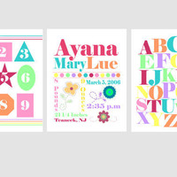"Nursery Wall Art for Girl, Alphabet, birth announcement, Shapes and Numbers art prints set of three 8x10"", choose your colors"