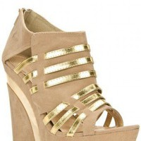 CUT OUT PLATFORM FAUX SUEDE UPPER WEDGE @ KiwiLook fashion