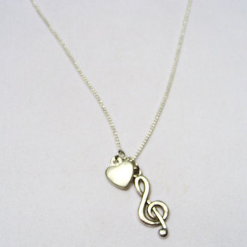 I love music treble clef necklace with heart on silver chain