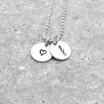 Initial Necklace, f Heart Necklace, Sterling Silver Jewelry, Letter f Necklace, Hear Necklace, Hand Stamped Jewelry, Charm Necklace, f