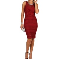 Red Lacey Jeweled Neck Dress