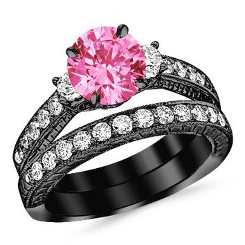 2.03 Carat 14K Black Gold Three Stone Vintage With Milgrain & Filigree Bridal Set with Wedding Band & Diamond Engagement Ring with a 1 Carat Natural Pink Sapphire Center (Heirloom Quality):Amazon:Jewelry