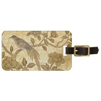 Antique Gold w/Bird Luggage Tag
