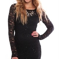 Long Sleeve Lace Bodycon Dress with Illusion Back