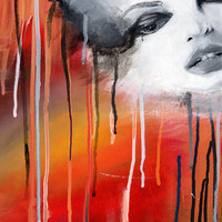Face on colorful drippy background Giclee Print