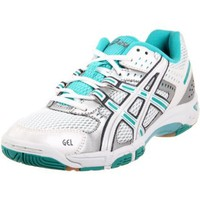 ASICS Women`s Gel Rocket 5 Volleyball Shoe,White/Teal/Silver,5.5 M US