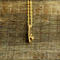 Fancy Script Lowercase Initial Necklace, Available in Silver or Gold