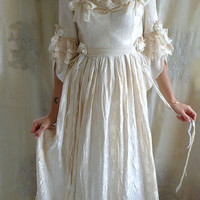 Rococo Fairy Tale Wedding Gown... Size S/M... women dress whimsical marie antoinette costume boho shabby chic formal floral tea stain