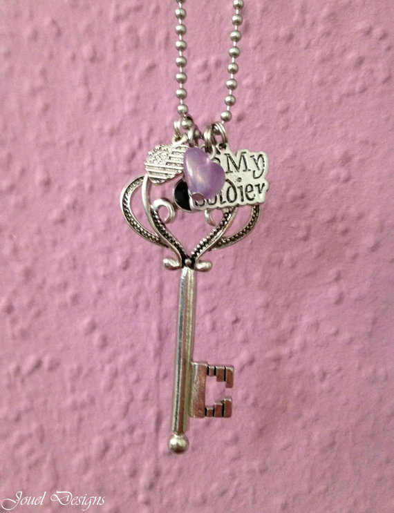 Key Necklace, Retro Necklace, I love my soldier charm necklace patriotic