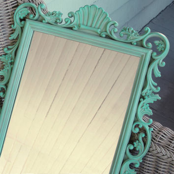 Beach Cottage Mirror Sea Green Aqua Homco Vintage Ornate Rectangle
