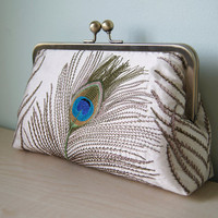 EllenVINTAGE Silk Peacock Clutch With Silk Lining by ellenVintage