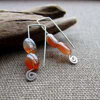 Silver Earrings with Amber Gemtone - Spiral Earrings by NadinArtDesign