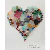"""LOVE"" - Sea Glass Fine Art Heart Poster 11 X 14 From the Book ""Of Love & Sea Glass: Inspirational Quotes and Treasured Gifts from the Sea"" a Unique Great Anniversary, Birthday, Valentines Day, Mothers Day, Fathers Day, Christmas Gift"