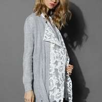 Grey Cardigan with Embroidered Mesh Panel