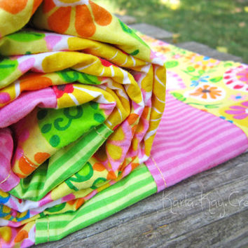 Baby Girl Quilt Lightweight Summer Blanket Flowers Leaves Yellow Pink Green Orange Blue Light - Flower Garden