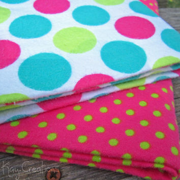 Receiving Blanket Baby Girl Pink White Turquoise Lime Green Polka Dot Swaddle Wrap Set of 2 - Candy Land