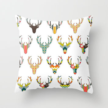 retro deer head white Throw Pillow by Sharon Turner | Society6