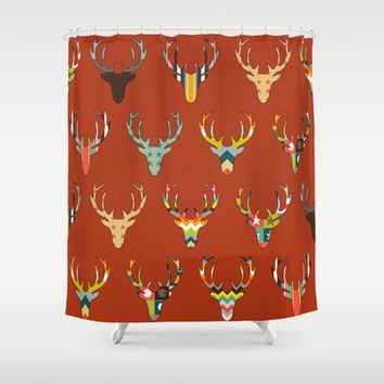 retro deer head russet Shower Curtain by Sharon Turner | Society6