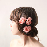 Pink rose hair clips, Flower bobby pins, Bridal hair clips, Wedding flower pins, Pink rose bobby pin flowers (set of 3) - CLIMBING ROSE