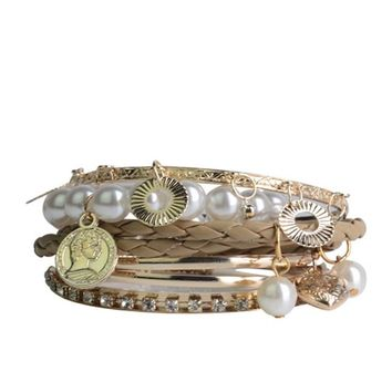 Lureme Braided Leather Pearl Charm Crystal Gold Tone Stackable Bangle Bracelet Set for Women 600180+