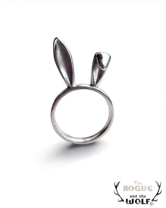 Silver Bunny Ears Ring, sterling silver ring, Bunny ring, Cute animal ring, hare ring, animal jewelry, gift for the whimsical sweetheart
