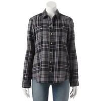 SO Flannel Button-Front Top - Juniors