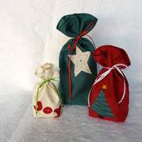 Reusable Gift Bag, Fabric Gift Bag (set of 3) Christmas