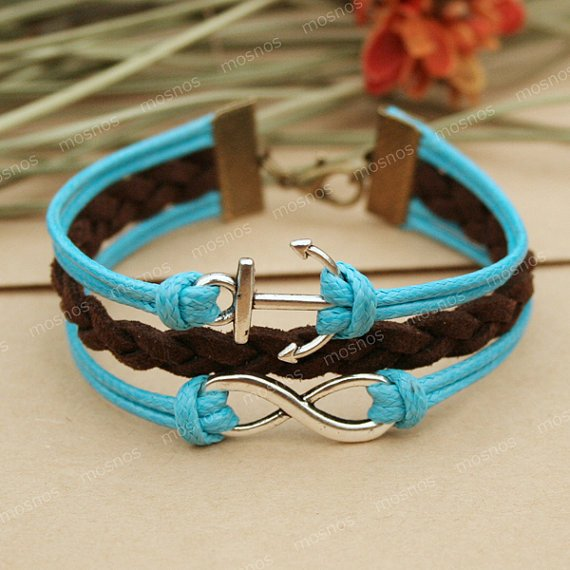 Infinity bracelet- blue anchor bracelet with infinity for friends, gift for boyfriend, girlfriend