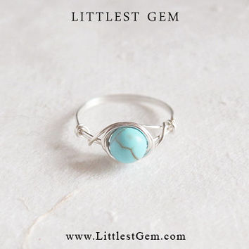 Silver Turquoise ring - unique rings - custom